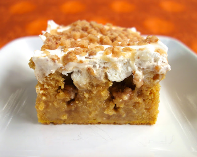 Image and recipe from: http://www.plainchicken.com/2013/11/pumpkin-spice-poke-cake.html
