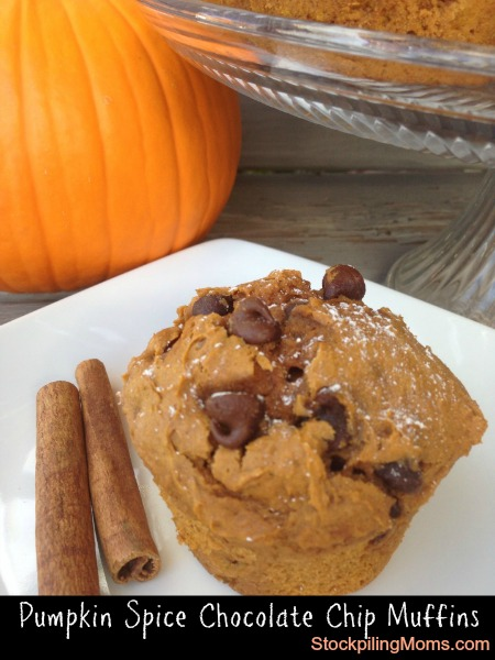 Image and recipe from: http://www.stockpilingmoms.com/2013/09/pumpkin-spice-chocolate-chip-muffins/